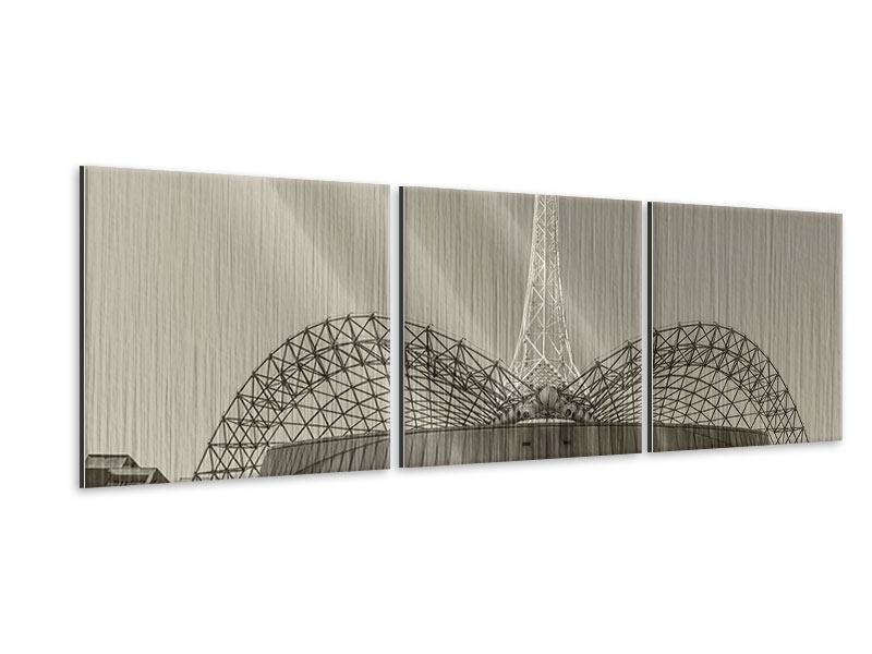 Panorama Metallic-Bild 3-teilig Close Up Wolkenkratzer