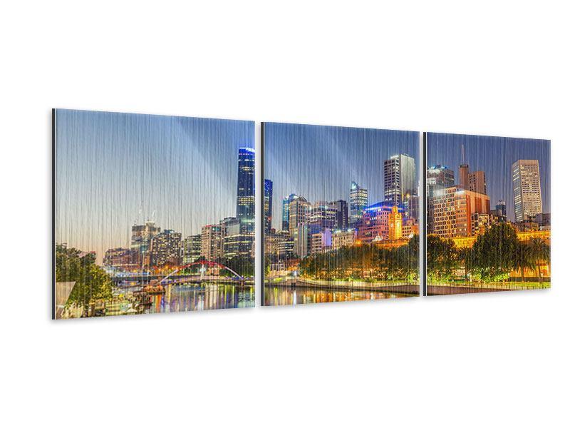 Panorama Metallic-Bild 3-teilig Skyline Sydney in der Abenddämmerung