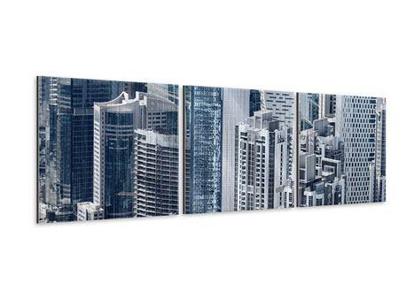 Panorama Metallic-Bild 3-teilig Die Wolkenkratzer von Dubai