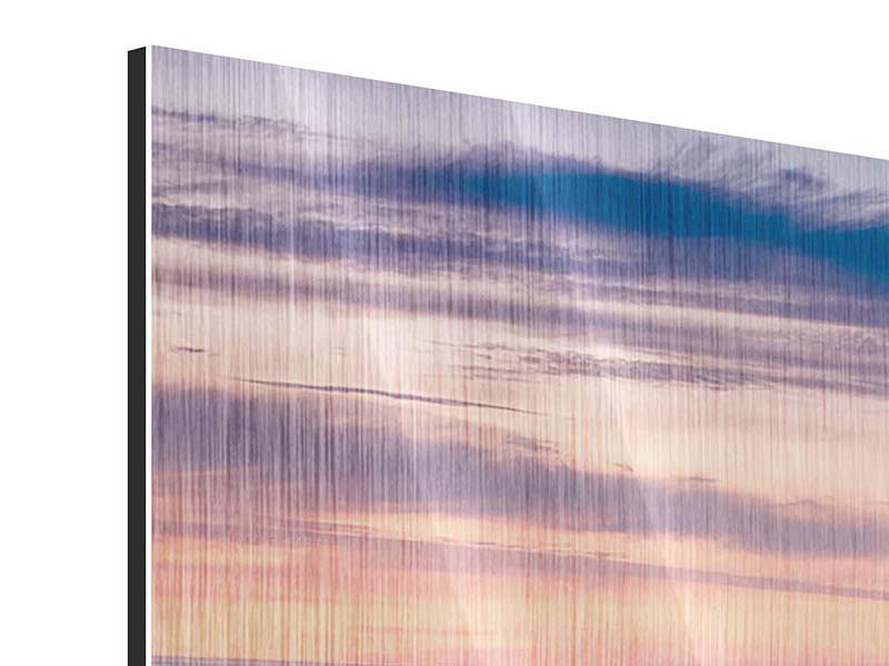 Panorama Metallic-Bild 3-teilig Felsen in der Brandung