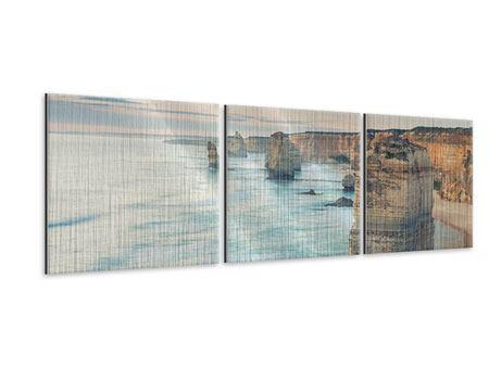 Panorama Metallic-Bild 3-teilig Felsklippen
