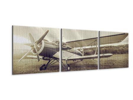 Panorama Metallic-Bild 3-teilig Nostalgisches Flugzeug im Retrostyle