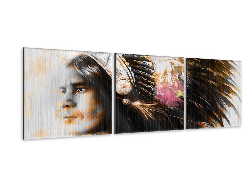 Panorama Metallic-Bild 3-teilig Kunstvolles Indianer-Portrait