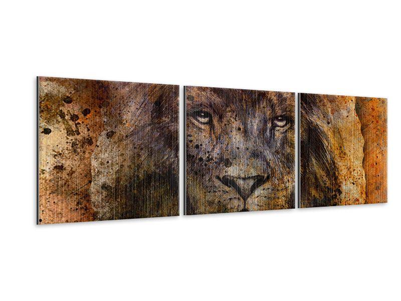 Panorama Metallic-Bild 3-teilig Portrait eines Löwen