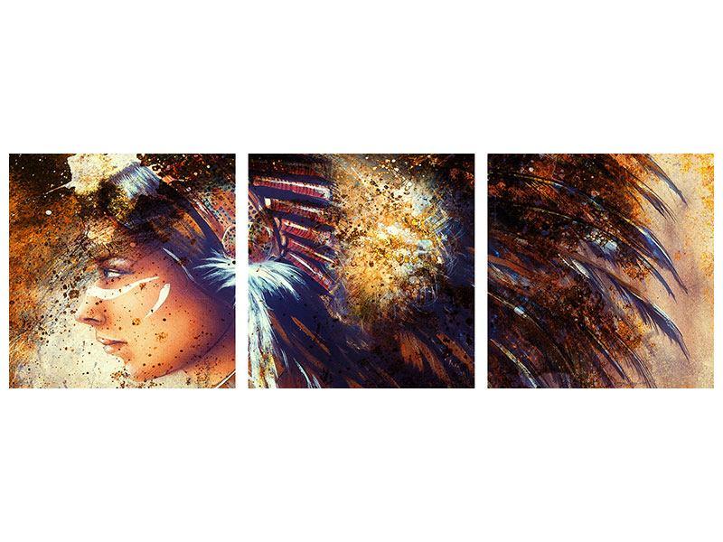 Panorama Metallic-Bild 3-teilig Indianer