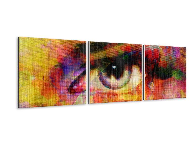 Panorama Metallic-Bild 3-teilig Das Auge