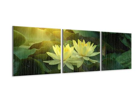 Panorama Metallic-Bild 3-teilig Wilde Lotus