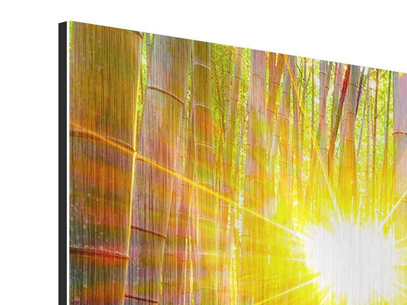 Panorama Metallic-Bild 3-teilig Bambusse