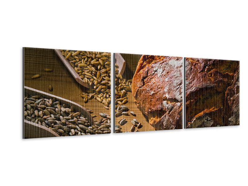 Panorama Metallic-Bild 3-teilig Das Brot
