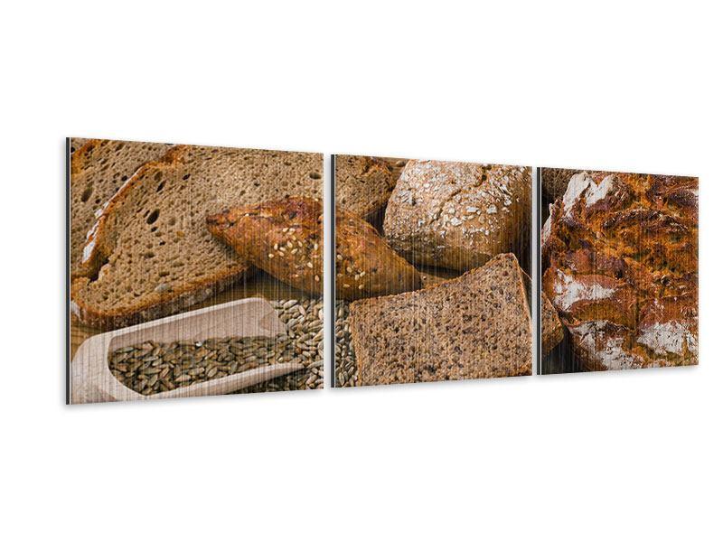 Panorama Metallic-Bild 3-teilig Brotarten