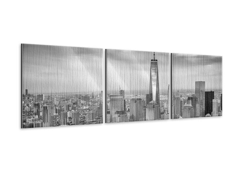 Panorama Metallic-Bild 3-teilig Skyline Schwarzweissfotografie New York
