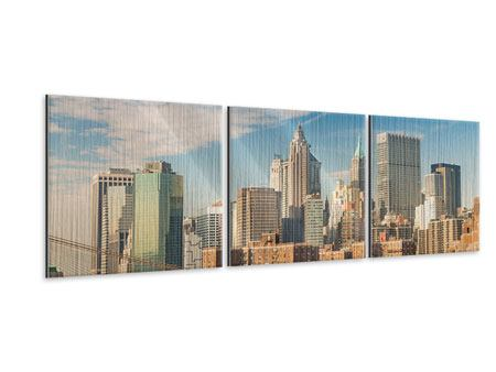 Panorama Metallic-Bild 3-teilig Skyline New York