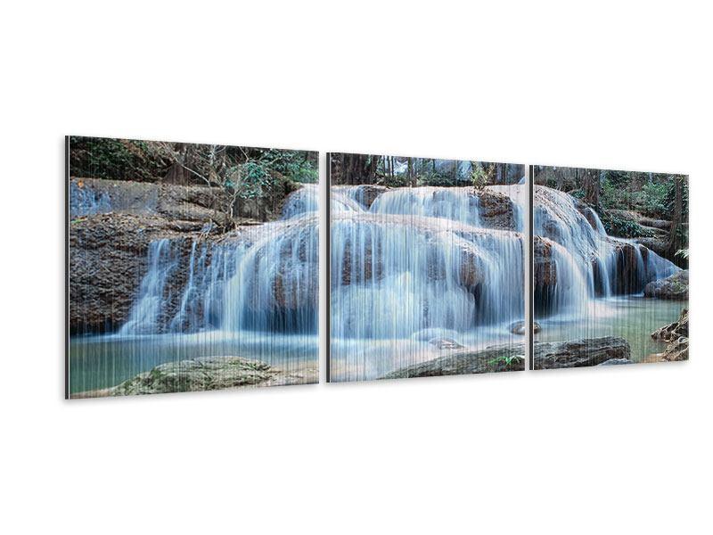 Panorama Metallic-Bild 3-teilig Ein Wasserfall