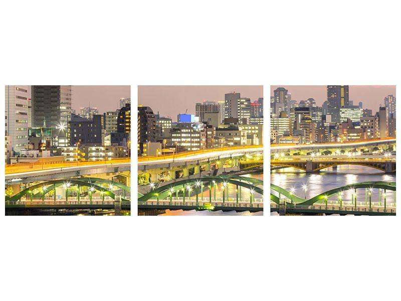 Panorama Metallic-Bild 3-teilig Skyline Das Lichtermeer von Tokio