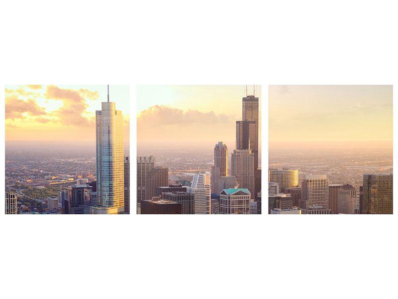 Panorama Metallic-Bild 3-teilig Skyline Chicago