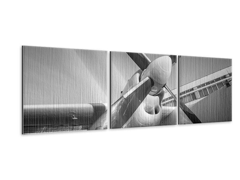 Panorama Metallic-Bild 3-teilig Nostalgisches Flugzeug