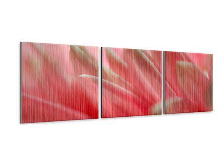Panorama Metallic-Bild 3-teilig Close Up einer Blüte