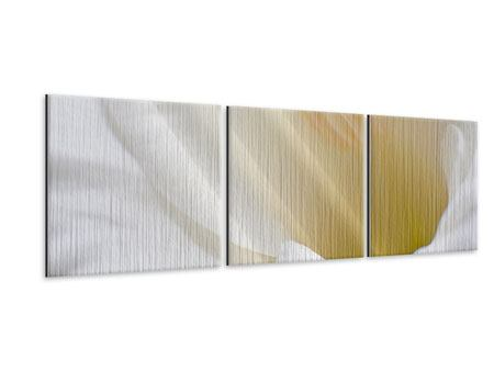 Panorama Metallic-Bild 3-teilig In einer Blüte