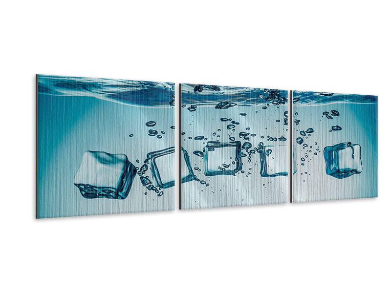 Panorama Metallic-Bild 3-teilig Eiswürfel-Quadro