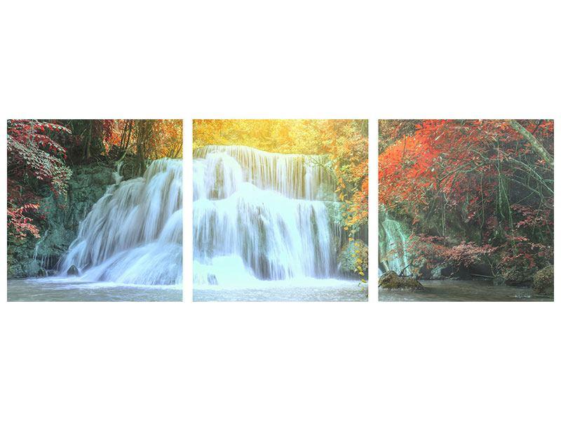 Panorama Metallic-Bild 3-teilig Wasserfall im Licht