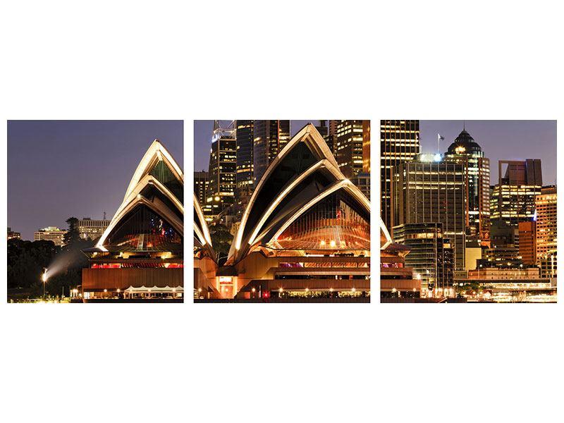 Panorama Metallic-Bild 3-teilig Skyline Mit dem Boot vor Sydney