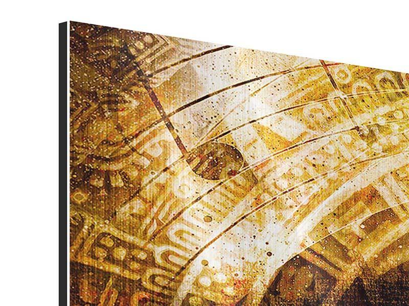 Panorama Metallic-Bild 3-teilig Fraktales Auge