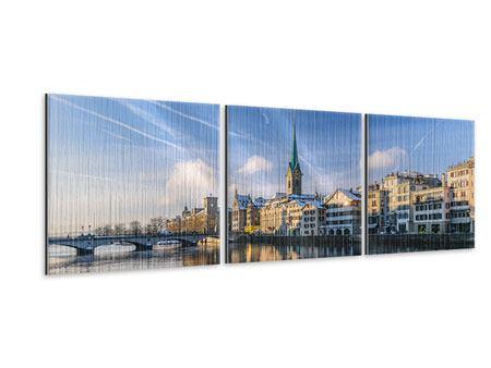 Panorama Metallic-Bild 3-teilig Zürich