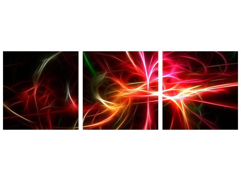 Panorama Metallic-Bild 3-teilig Fraktales Lichtspektakel