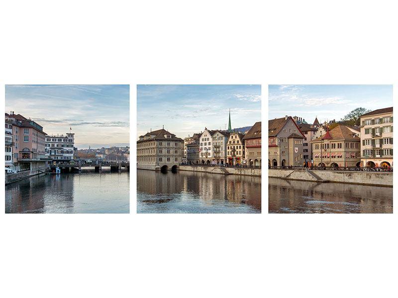 Panorama Metallic-Bild 3-teilig Kosmopolitisches Zürich