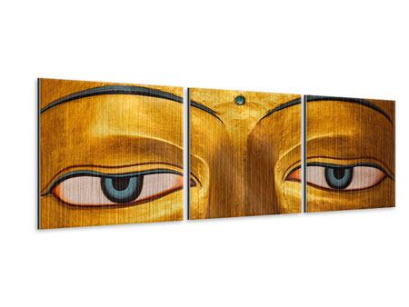Panorama Metallic-Bild 3-teilig Die Augen eines Buddhas