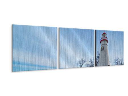 Panorama Metallic-Bild 3-teilig Leuchtturm im Schnee
