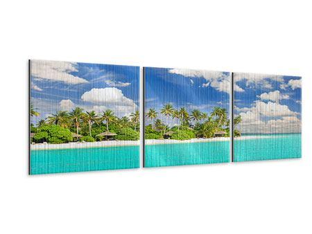 Panorama Metallic-Bild 3-teilig Meine Insel