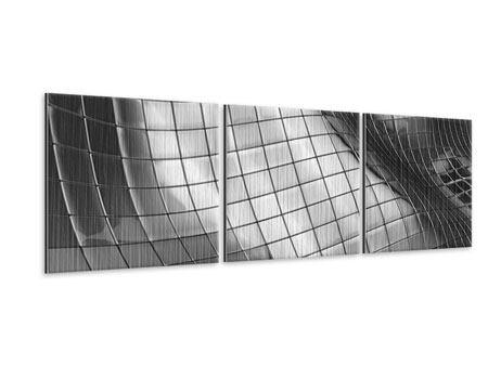 Panorama Metallic-Bild 3-teilig Abstrakter Stahl