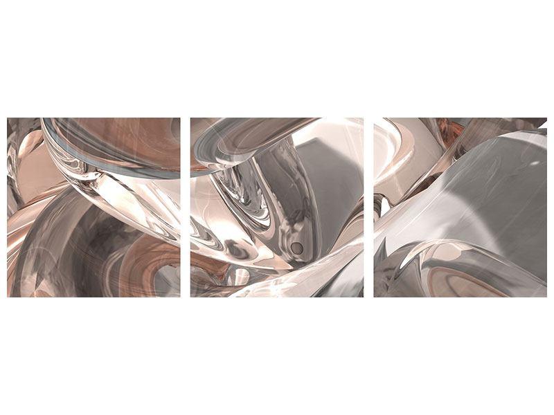 Panorama Metallic-Bild 3-teilig Abstraktes Glasfliessen