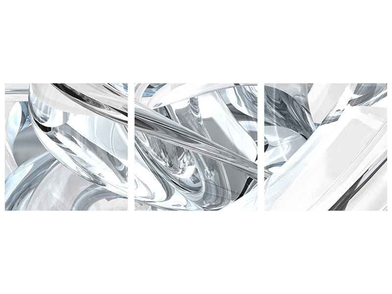 Panorama Metallic-Bild 3-teilig Abstrakte Glasbahnen