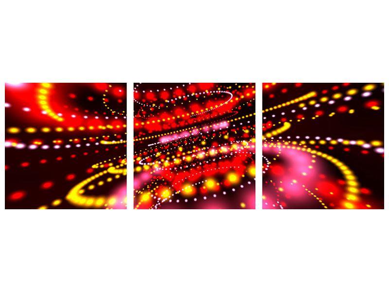Panorama Metallic-Bild 3-teilig Abstraktes Lichtspiel