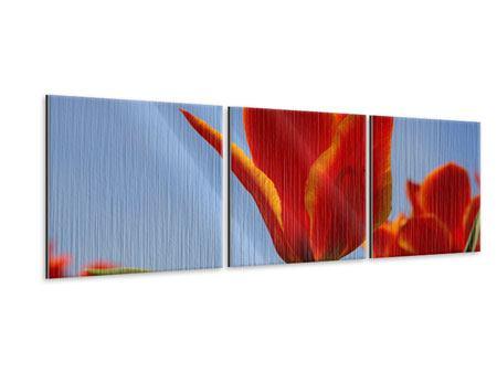 Panorama Metallic-Bild 3-teilig Rote Tulpen in XXL