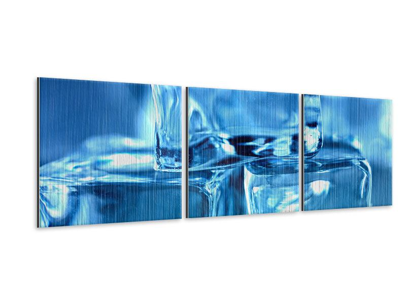 Panorama Metallic-Bild 3-teilig Eiswürfel XXL