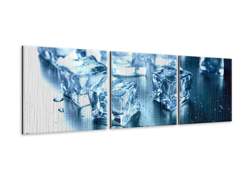 Panorama Metallic-Bild 3-teilig Viele Eiswürfel