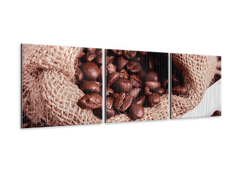 Panorama Metallic-Bild 3-teilig XXL Kaffeebohnen