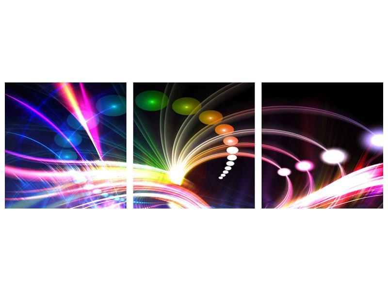 Panorama Metallic-Bild 3-teilig Abstrakte Lichtreflexe