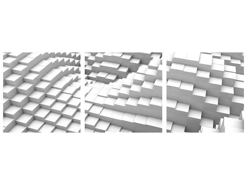 Panorama Metallic-Bild 3-teilig 3D-Elemente