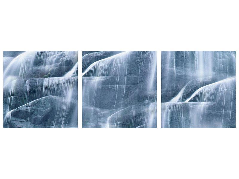 Panorama Metallic-Bild 3-teilig Grossartiger Wasserfall