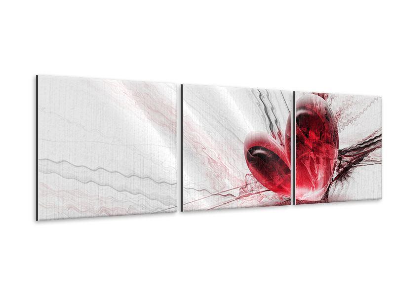 Panorama Metallic-Bild 3-teilig Herzspiegelung