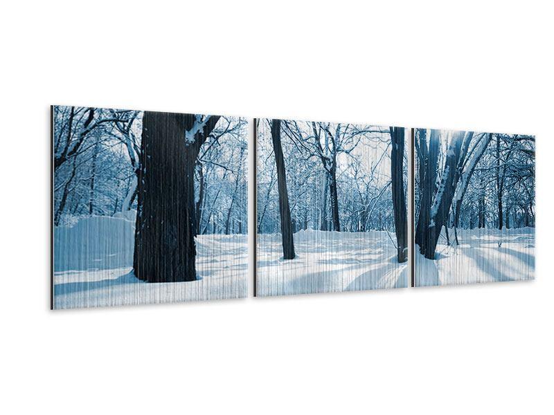 Panorama Metallic-Bild 3-teilig Der Wald ohne Spuren im Schnee