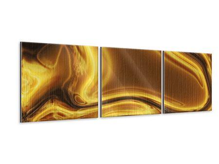 Panorama Metallic-Bild 3-teilig Abstrakt Flüssiges Gold