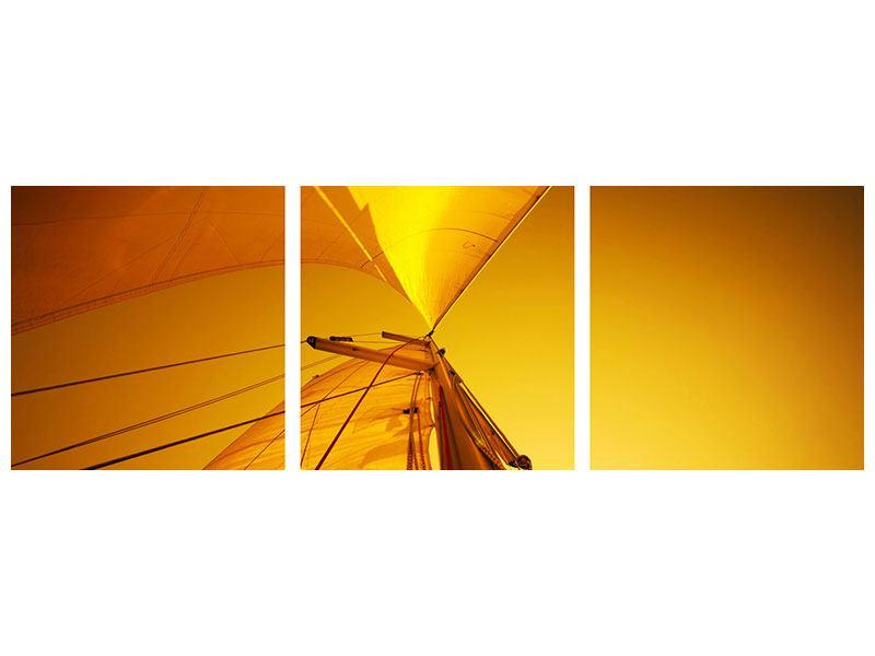 Panorama Metallic-Bild 3-teilig Segelboot im Sonnenuntergang