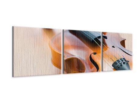 Panorama Metallic-Bild 3-teilig Geige
