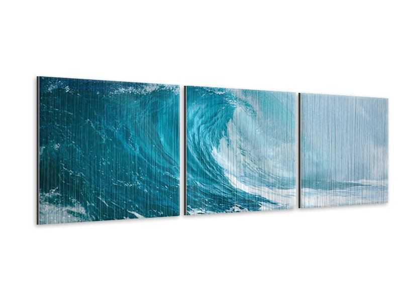 Panorama Metallic-Bild 3-teilig Die perfekte Welle