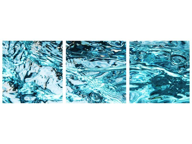 Panorama Metallic-Bild 3-teilig Schönheit Wasser
